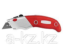 Нож строительный ЗУБР 0923_z01, ЭКСПЕРТ, с трапециевидным лезвием тип А24, автоматическая фиксация лезвия, металлический корпус, кассета для хранения