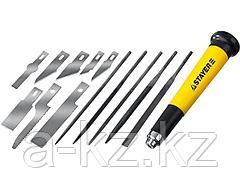 Нож для точных работ набор STAYER 09145-H38, MASTER, в комплекте с лезвиями различной формы и надфилями, в чехле, 38 предметов