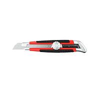 Нож URAGAN с выдвижным сегментированным лезвием, двухкомп корпус, механический фиксатор, инструментальная сталь, 18мм