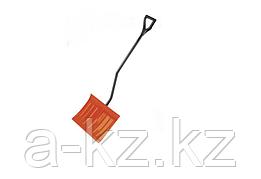 Лопата снеговая стальная с металлическим черенком и V-образной ручкой, 465мм, оранжевая, СИБИН 421849