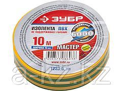 Изолента ЗУБР МАСТЕР желто-зеленая, ПВХ, не поддерживающая горение, 6000 В, 15мм х 10м, 1233-6_z01