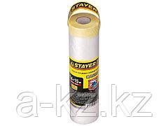 Пленка укрывная для ремонта с клейкой лентой STAYER PROFI МАСКЕР, HDPE, 10 мкм, 1,4 х 15 м, 12255-140-15