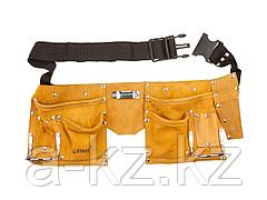 Пояс для инструментов STAYER 38510, MASTER, кожаный, 10 карманов, 2 скобы