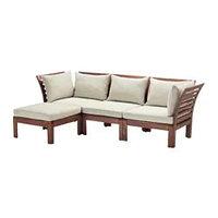 ЭПЛАРО 3-местный диван+табурет д/ног,садов, коричневая морилка, Холло бежевый, ИКЕА, IKEA Казахстан
