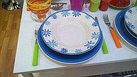 Керамический набор посуды «Синие цветы» 18 предметов.