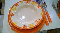 Керамический набор посуды «Оранжевые цветы» 18 предметов.