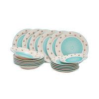 Керамический набор посуды «YAYOI» 18 предметов. Голубой с серым