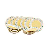 Керамический набор посуды «YAYOI» 18 предметов. Желтый с голубым.