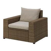 СОЛЛЕРОН Садовое кресло, коричневый, Холло бежевый ИКЕА, IKEA Казахстан