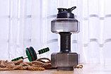 Бутылка для фитнеса форма гантель, фото 2