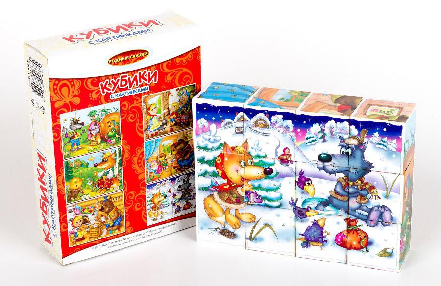 """Кубики с картинками """"Родные сказки"""" 12 кубиков"""