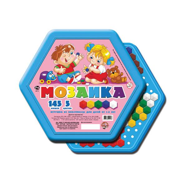Игровой набор детская мозаика, шестигранная, 145 фишек, 5 цветов