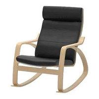 Кресло-качалка ПОЭНГ березовый шпон, Смидиг черный ИКЕА, IKEA Астана , фото 1