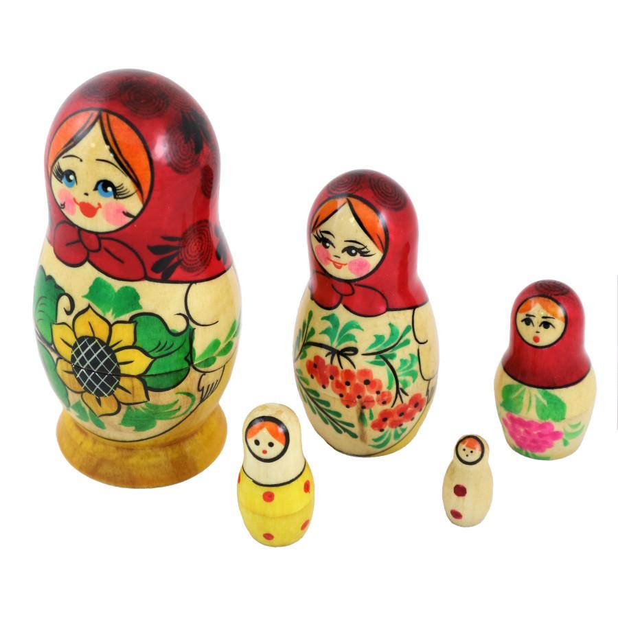 """Матрешка """"Подсолнухи"""", 5 кукол"""