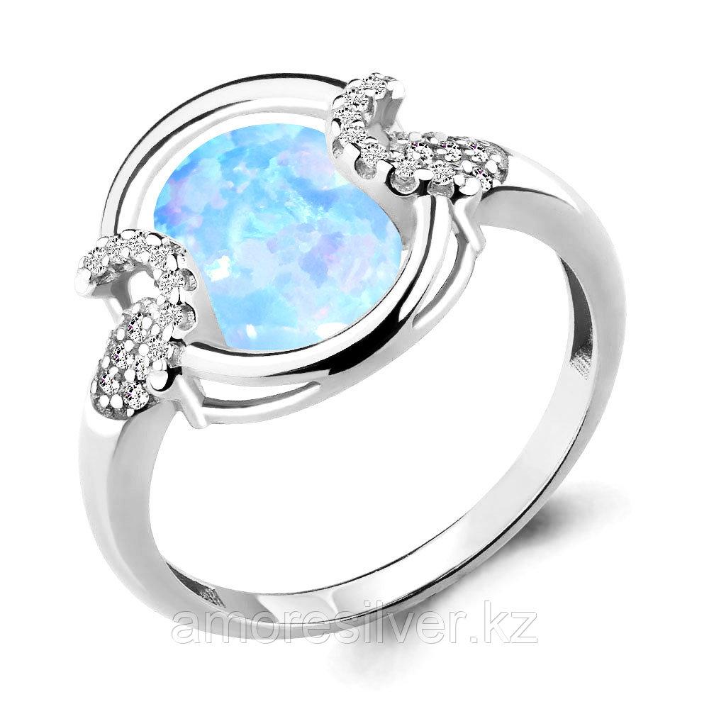 Кольцо Аквамарин серебро с родием, фианит, овал 6599197А