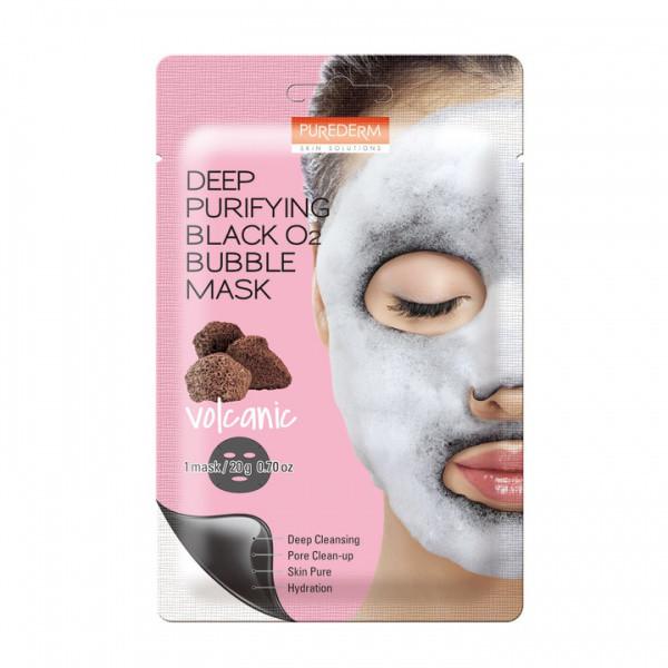 Purederm Deep Purifying Black O2 Bubble Mask Volcanic Вулканическая, кислородная маска для лица