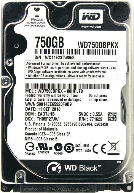 WD Жесткий диск для ноутбука WD7500BPKX