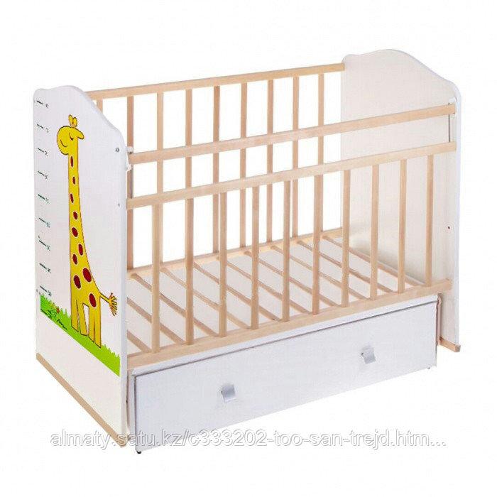 Детская кроватка ВДК Морозко без рисунка (с маятником, с ящиком), бежевый,береза-белый
