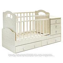 Детская кровать - трансформер ВДК Infanzia с МДВ (с пеленальным столом+2 ящ),цвет белый-беж,белый-венеге,белый, фото 2