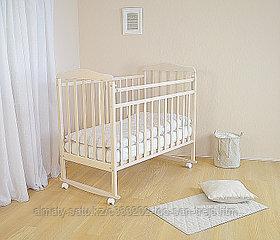 СКВ Кровать детская Митенька , цвет  Берёза снежная(колесо-качалка,опускающая планка)