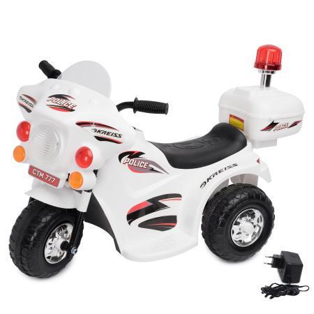 Детский электромотоцикл Полиция, белый