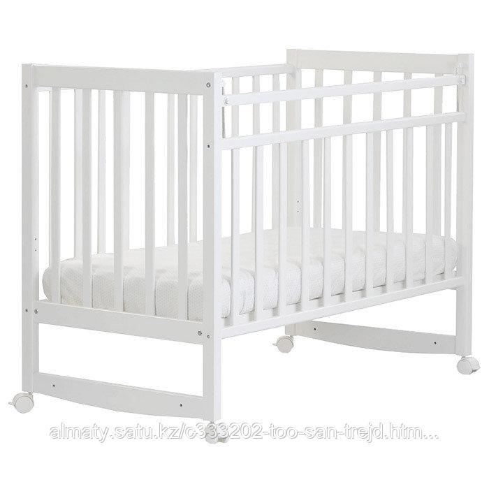 СКВ Кровать детская Митенька (  колесо-качалка,опускающаяся планка),цвет белый.
