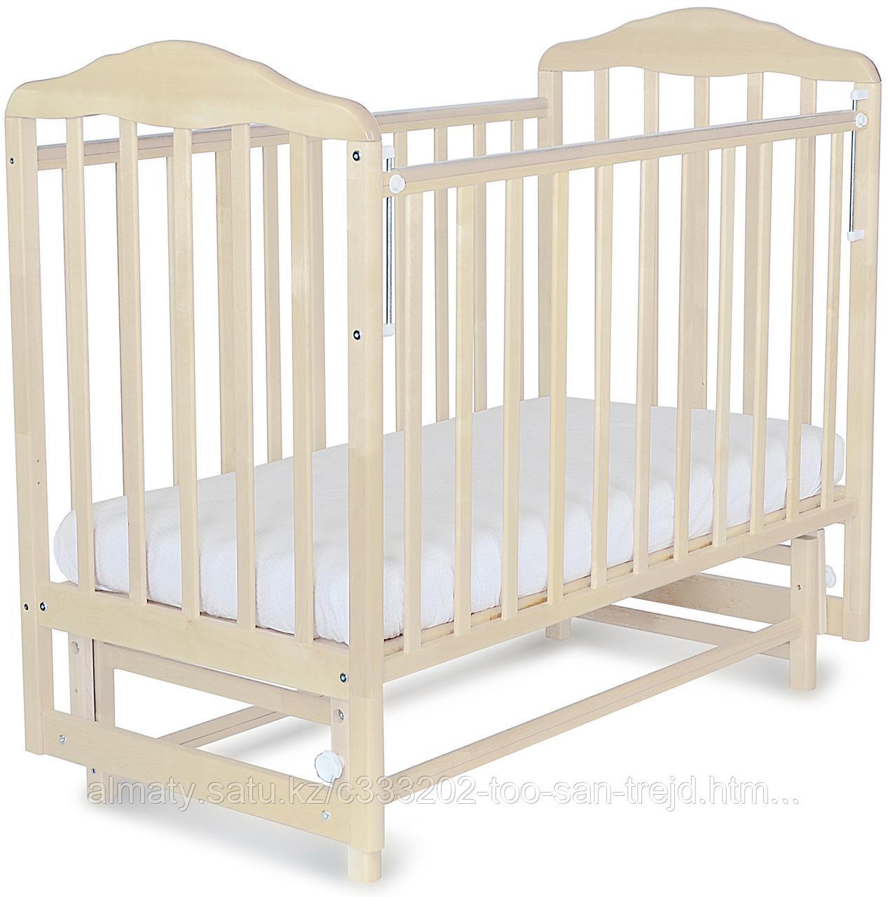 Кровать детская Митенька (с маятником,опускающаяся планка), цвет берёза