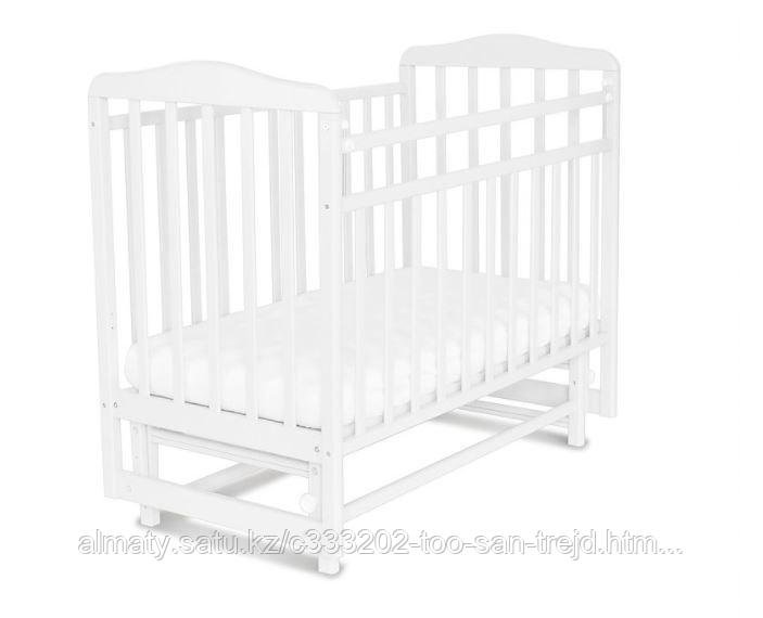 Кровать детская Митенька ( с маятником,опускающаяся планка), цвет белый.
