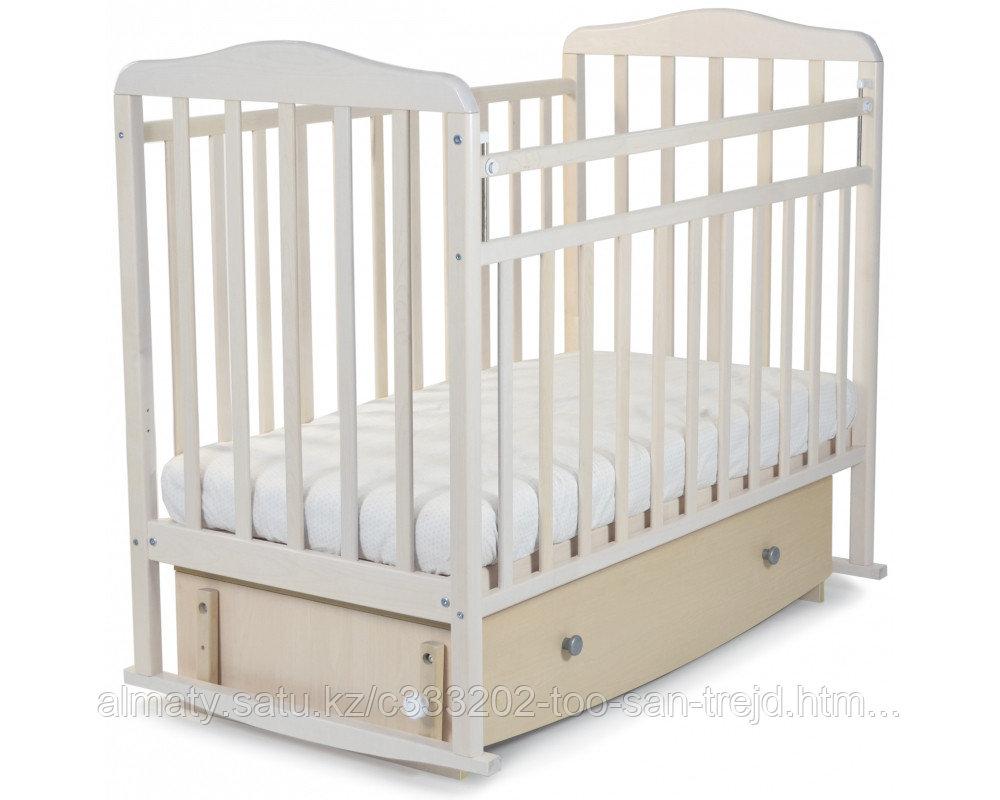 Кровать детская Митенька New( с ящиком ,опускающаяся планка), цвет береза снежная.