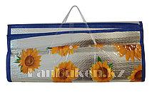 Пляжный соломенный коврик-сумка с Фольгой покрытием 170* 150 см (складной)