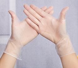 Перчатки виниловые, нестерильные, прозрачные