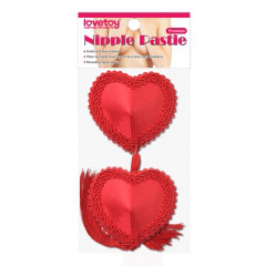 Красные пэстисы на соски в виде сердечек с кисточками (многоразовые)