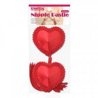 Красные пэстисы на соски в виде сердечек с кисточками (многоразовые), фото 1