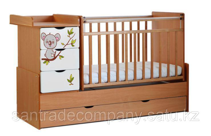 Детская кровать трансформер СКВ-5  с маятником,4 ящика,цвет венеге фасад-бежевый