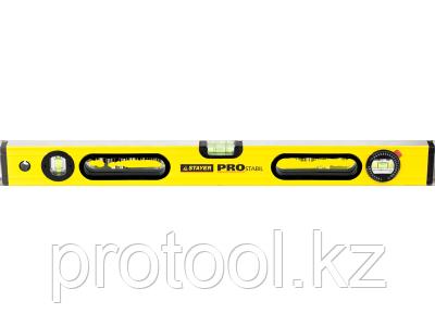 """Уровень STAYER """"PROFI"""" PROSTABIL профессион коробчатый, 2 фрезер поверхн, 3 ампулы (1 поворотная),120 см"""