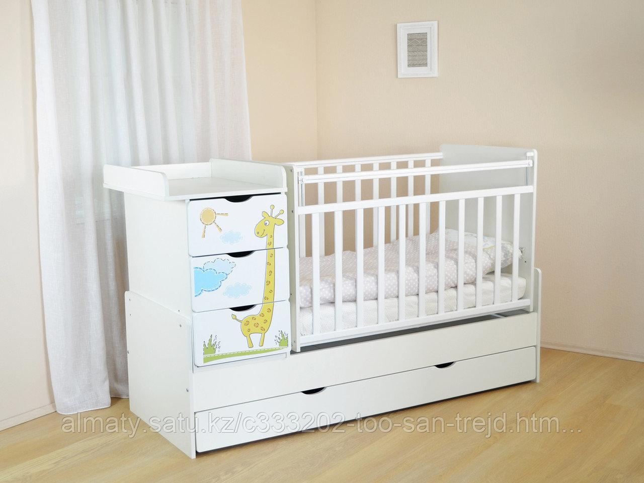 Детская кровать трансформер СКВ-5 Жираф  фотопечать,боковой маятник,4ящика,цвет белый.