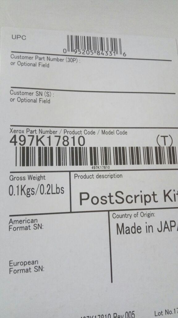XEROX 497K17810 Печать PostScript для VersaLink B7035