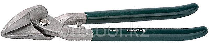 KRAFTOOL Ножницы по металлу цельнокованые, сквозной прямой, выкружной и фигурный рез, 260мм