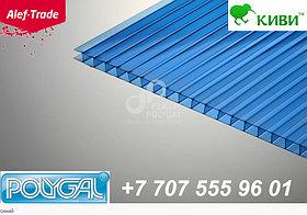 POLYGAL серии КИВИ, 16 мм (2,1х12 метров) Поликарбонат сотовый Синий Поликарбонат сотовый (полигаль)