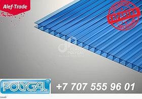 POLYGAL серии КОЛИБРИ, 6 мм (2,1х6 метров) Поликарбонат сотовый Синий Поликарбонат сотовый (полигаль)