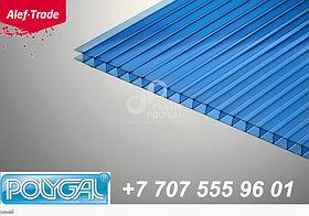 POLYGAL серии ПРАКТИЧНЫЙ, 4 мм  (2,1х6 метров) Поликарбонат сотовый Синий Поликарбонат сотовый (полигаль)