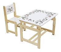 Комплект растущей детской мебели Polini Eco 400 SM, Единорог белый-натуральный, фото 1