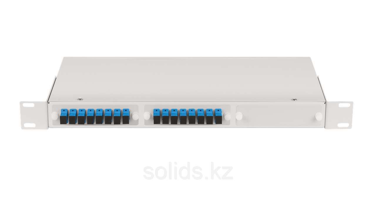 Оптический кросс 1U укомплектованный на 16 портов SC/UPC
