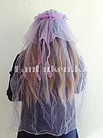 Фата с ободком на девичник светло-фиолетовая