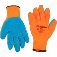 Перчатки утепленные, акриловые, с рельефным латексным покрытием, 10 класс, сигнальный цвет, L-XL, ЗУБР,