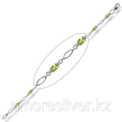 Серебряный браслет с хризолитом   Ювелирные традиции Бр620-012-17Хр