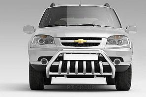 """Защита переднего бампера с защитой картера 63/51мм """"Люкс"""" (НПС) CHEVROLET NIVA 2009-"""