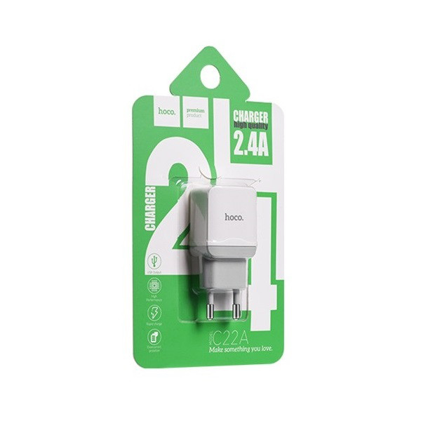 Зарядное устройство Hoco C22 2.4A White