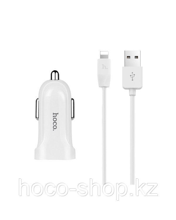 Зарядное устройство для телефона в авто Z12 Hoco с кабелем Lightning
