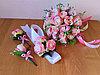 """Свадебный букет """"Нежно розовый"""" + комплект бутоньерок для жениха, свидетеля и подружки невесты"""